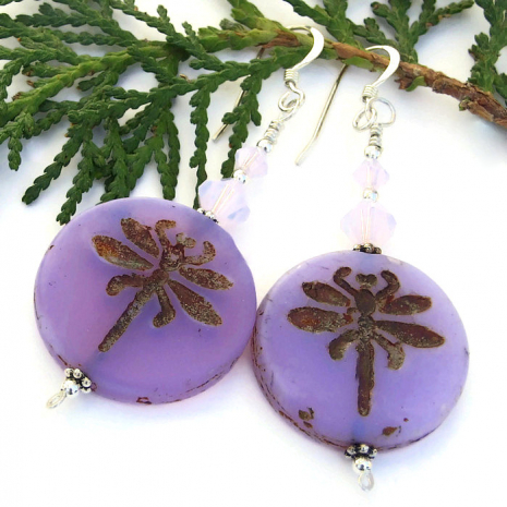 silky finish lavender purple dragonfly jewelry with crystals