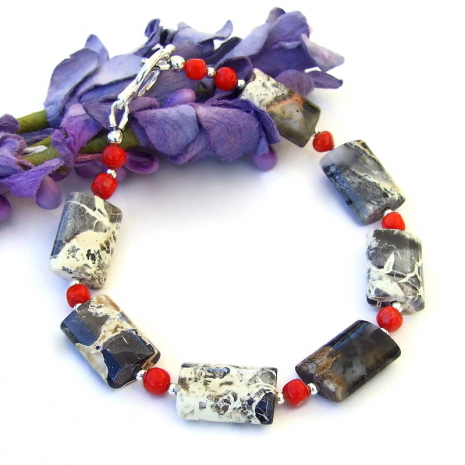silver black gray jasper and red coral gemstone jewelrybracelet gift for her