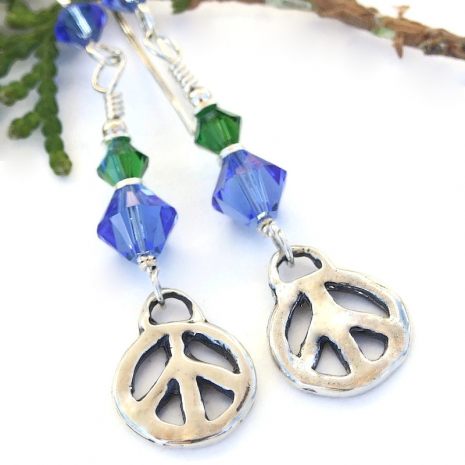 silver blue green handmade peace sign earrings