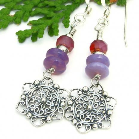 silver flower mandala earrings purple lavender pink