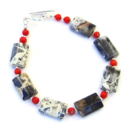 silver leaf jasper and red coral bracelet gift for women