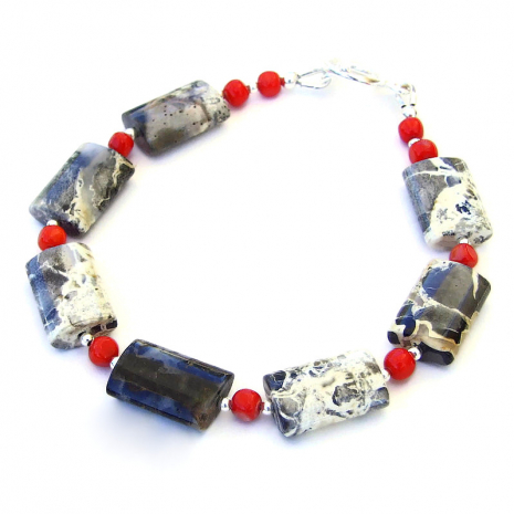 silver leaf jasper gemstone bracelet with red coral and sterling silver