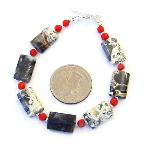 silver leaf jasper gemstone jewelry with red coral and sterling silver