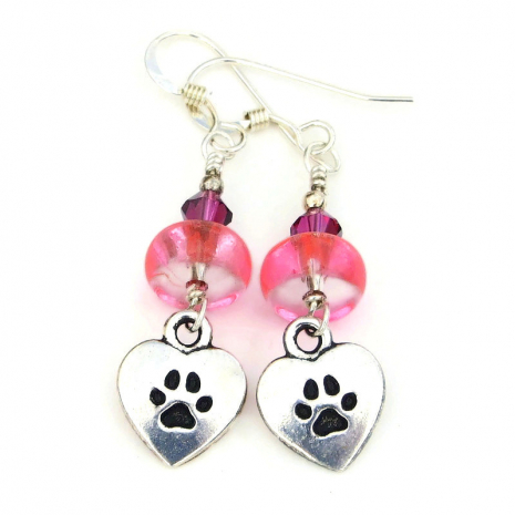 silver pink and fuchsia dog jewelry