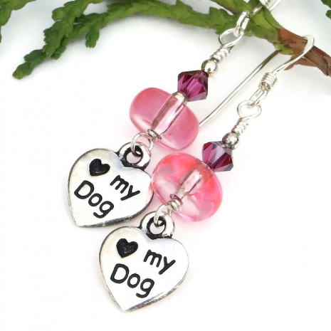 silver pink and fuchsia love my dog earrings