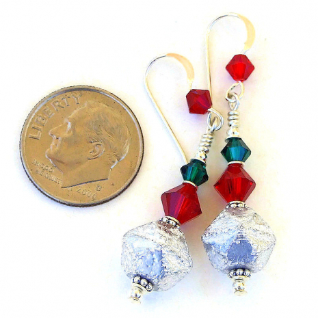 silver red green christmas holiday earrings gift for her