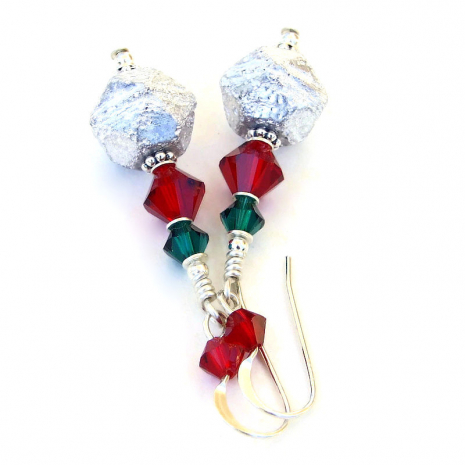 silver red green christmas holiday jewelry gift for her
