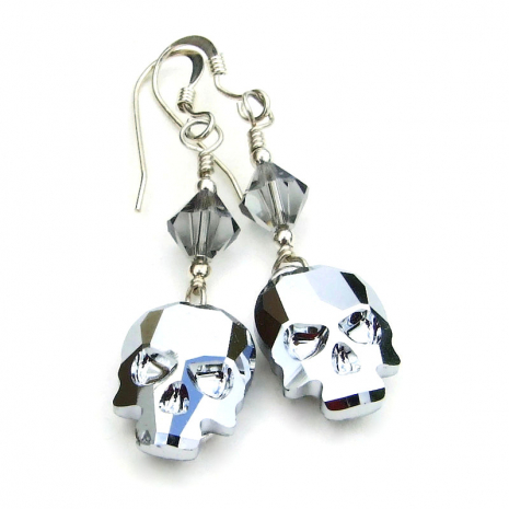silver skulls earrings gift for women