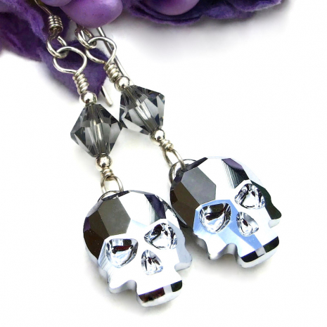 silver swarovski skull earrings day of the dead halloween