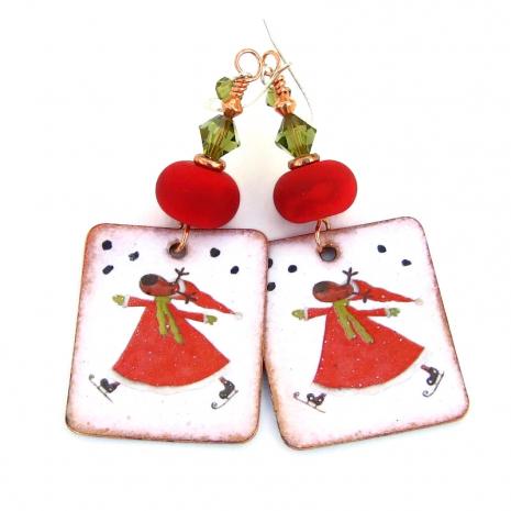 skating reindeer handmade earrings christmas gift for women