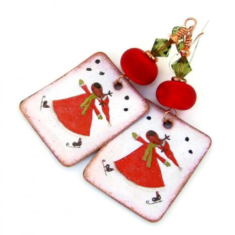 skating reindeer handmade jewelry christmas gift for women
