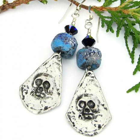 skull earrings jewelry halloween day of the dead