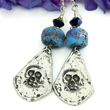 skull earrings lampwork swarovski crystals
