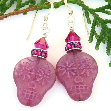 skull earrings pink fuchsia halloween day of the dead