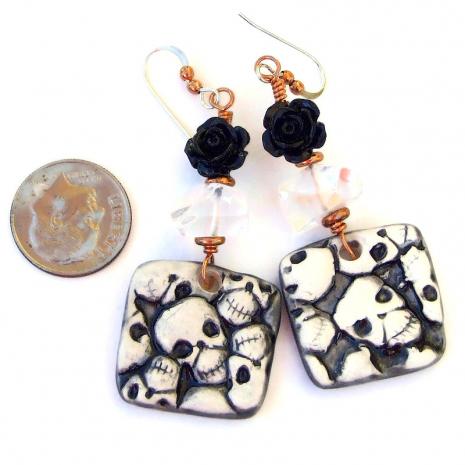 skull earrings quartz black rose halloween day of the dead