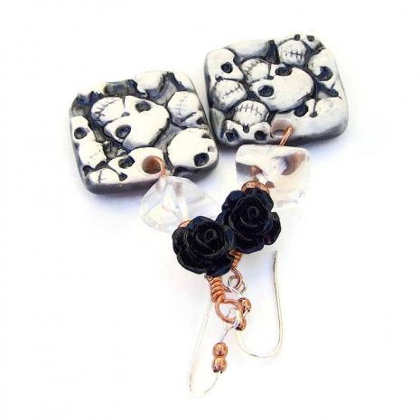 skull jewelry quartz black rose halloween day of the dead