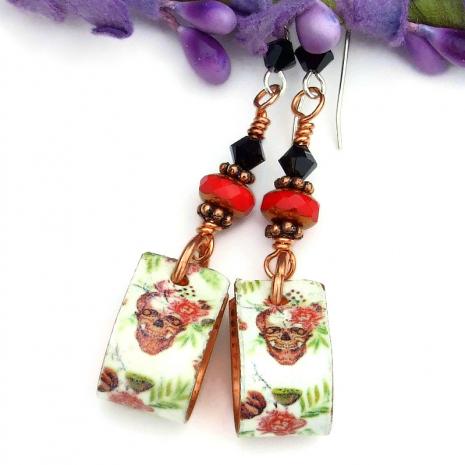 skulls and flowers hoop earrings