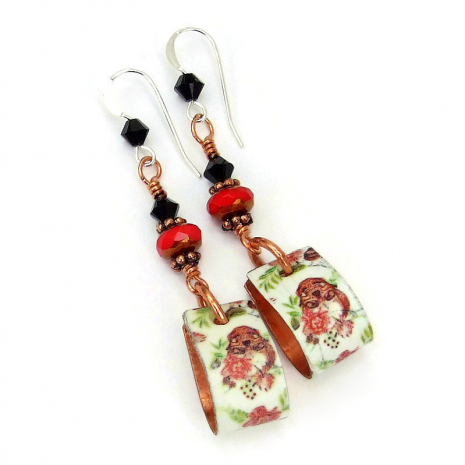 skulls and red roses on copper hoop jewelry for her