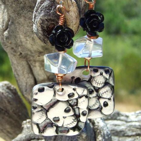 skulls earrings halloween day of the dead gift for women