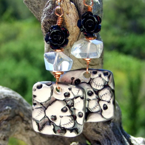skulls jewelry halloween day of the dead gift for women