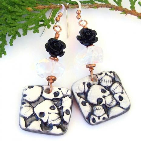 skulls quartz black rose handmade earrings halloween day of the dead