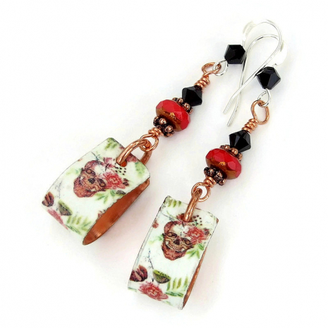 skulls with red roses flowers jewelry gift for women