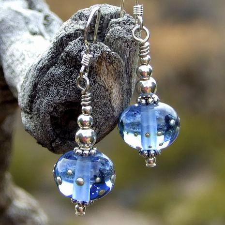 blue lampwork dangle earrings for her