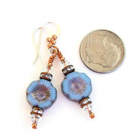 One of a kind blue flower earrings.
