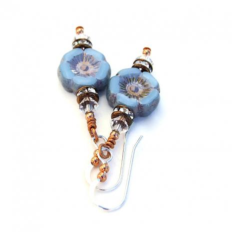 Beautiful sky blue flower earrings featuring Czech glass pansy beads.