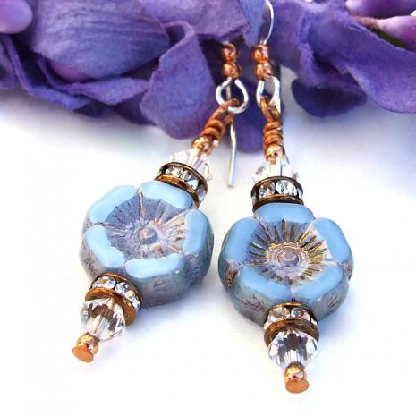 Lovely handmade pansy flower earrings to wear all summer long!