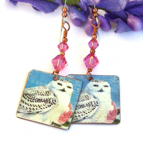 snowy owl earrings with pink swarovski crystals