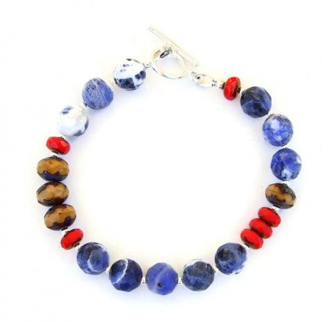 sodalite czech glass handmade bracelet gift for women