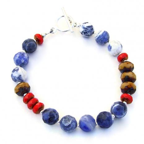 sodalite czech glass handmade jewelry gift for women