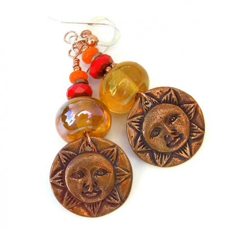 Sun face earrings for women - jewelry gift.