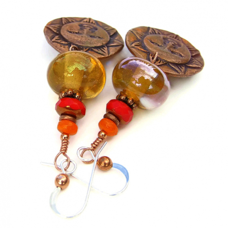 Handmade sun face earrings.
