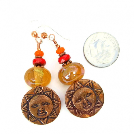 Jewelry gift idea, sun face earrings