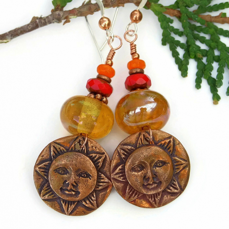 One of a kind sun face earrings for her