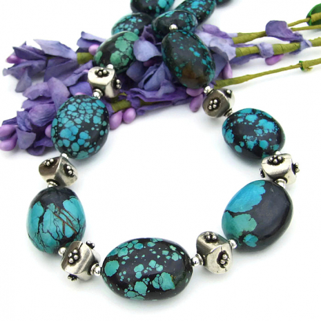Turquoise gemstones necklace with sterling silver