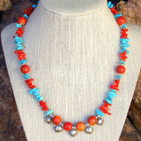 One of a kind Thai fine silver and gemstone Southwest necklace.