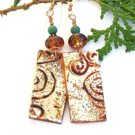 southwest canyons spiral handmade earrings with lampwork and turquoise