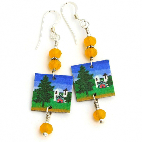 southwest church with crosses earrings gift for women