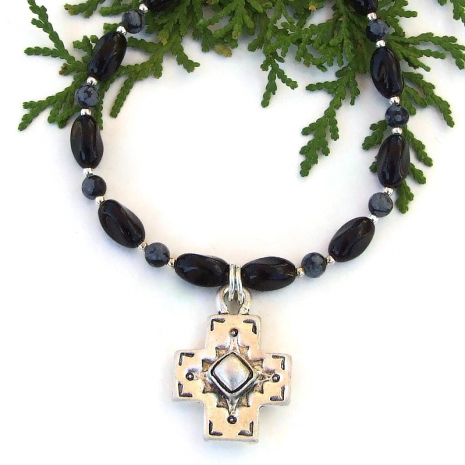 southwest cross necklace with black onyx snowflake obsidian handmade