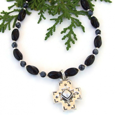 southwest cross necklace with gemstones