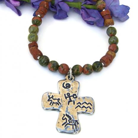 southwest cross pendant jewelry petroglyphs gemstones