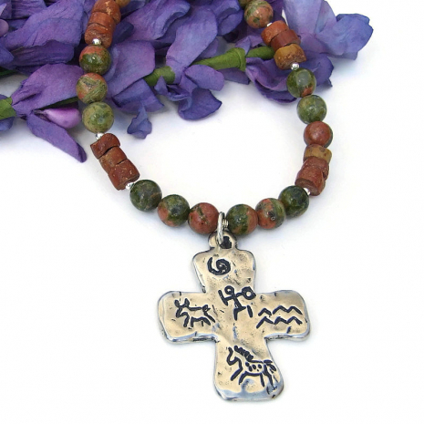 southwest cross pendant necklace petroglyphs gemstones