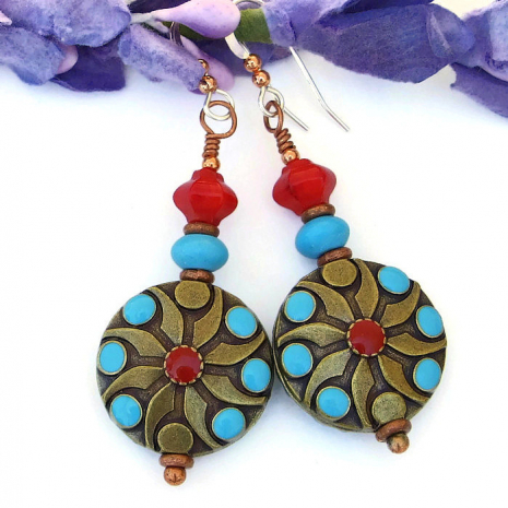 Red and turquoise handmade earrings for women.