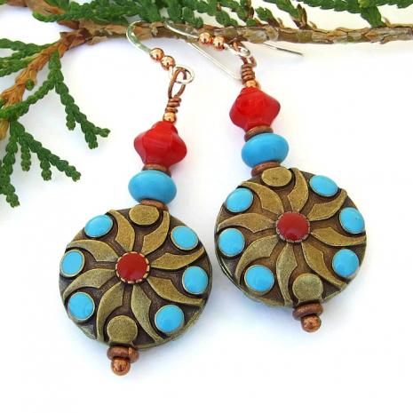Boho chic Southwest earrings.