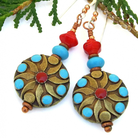 Southwest earrings in turquoise and red.