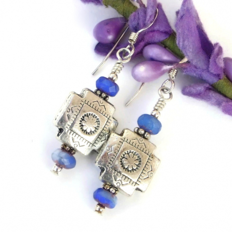 southwest design cross earrings