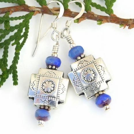 southwest design silver pewter cross earrings with blue czech glass